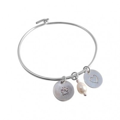 Childrens Heart & Pawprint Bangle