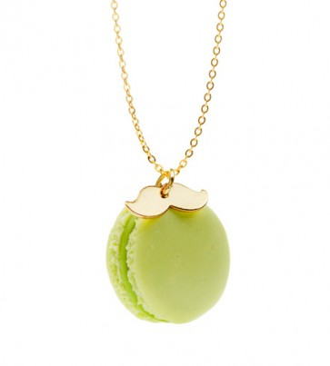 Green Tea Moustache Macaroon Necklace