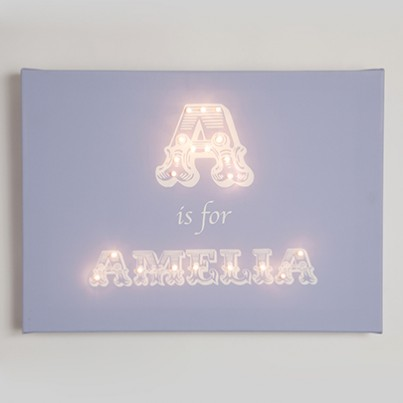 Personalised Alphabet TRADITIONAL FONT Illuminated Canvas Night Light