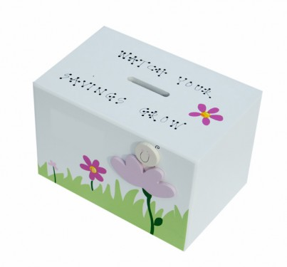 BABY PINK FLOWER WOODEN MONEY BOX
