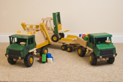 Uniwood Wooden Toys Construction set, Skip, Tipper with bricks, Fork Lift and low loader trailer