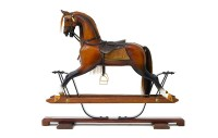 Extra large antique oak rocking horse on spring stand