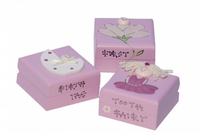 Tooth fairy ( First Tooth) First lock of Hair Birth Tag/ Band   All Freya Design products are painted with non-toxic paints and we have decided to leave the inside of the boxes unpainted in order to retain the natural smell of wood.
