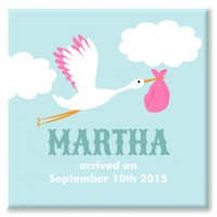 Stork Personalised Canvas christening gift (pink)