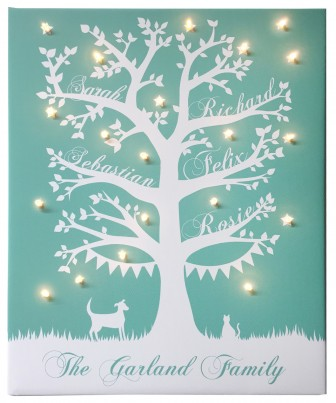 'Family Tree' Personalised Illuminated Canvas