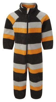 Early Years Microfleece All-in-One Charcoal/Grey/Orange Stripe