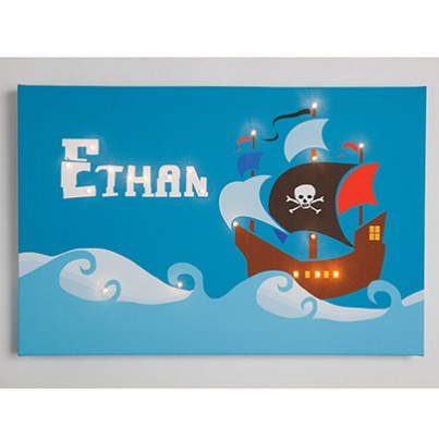 Personalised Pirate Ship Illuminated Canvas Night Light