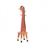 Teamson Giraffe High Backed Stool with Coat Rack