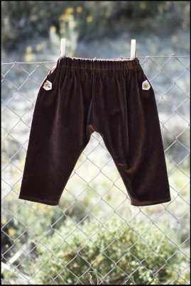 VELOUR COTTON TROUSERS BROWN