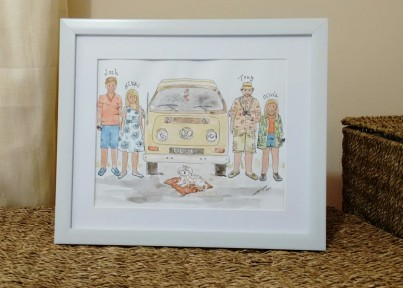 Personalised Watercolour Portrait with Campervan