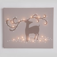 reindeer taupe illuminated canvas night light