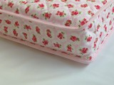 PINK FLORAL for a GIRL - SHORT SINGLE BED FULLY SPRUNG MATTRESS 190 x 90 x 10 cm with quilted washable cover