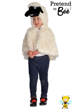 Quick and Easy Dressing Up  Baa Baa Baa!  Velour cape and character hood with velcro fastening.