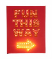 Fun This Way Red Background - Illuminated Canvas Night Light