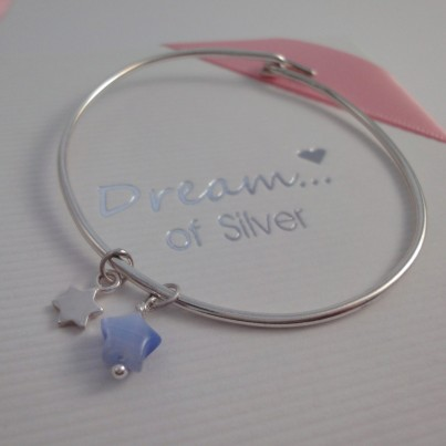 Childrens Tiny Star Bangle in Blue