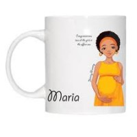 Ceramic mug - Personalised with your own text & pictures. Yummy Mummy to be - African