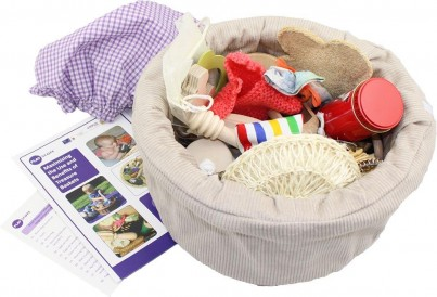 An aerial view of the Playscope for Parents Treasure Basket gives a fantastic insight into the variation of the carefully selected items included in a Treasure Basket.