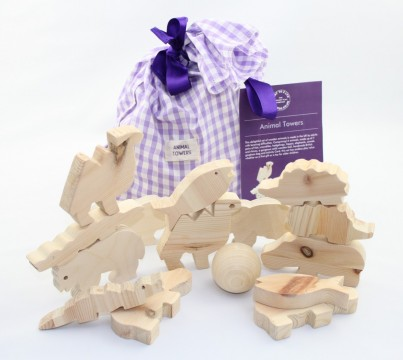 This set of 14 beautifully handcrafted wooden animals will appeal to babies through to 6 year olds providing opportunity for discussion, exploration and fun activities.  Includes a pretty gingham bag and activity booklet.
