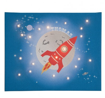 Space Rocket - Personalised Illuminated Canvas