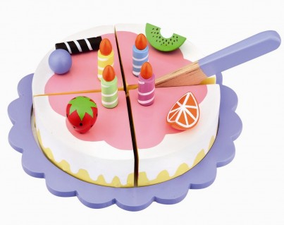 Wooden Strawberry Birthday Cake with Pretty Plate and Play Knife