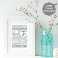 Personalised Birth Prints new baby christening gift (range of colours available)