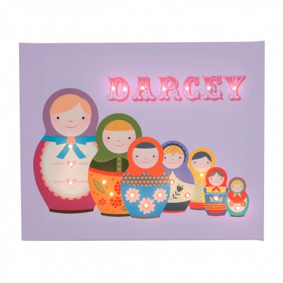Russian Dolls - Lilac Personalised Illuminated Canvas Night Light