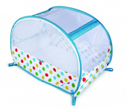 POP UP TRAVEL BUBBLE COT - POLKA BLUE