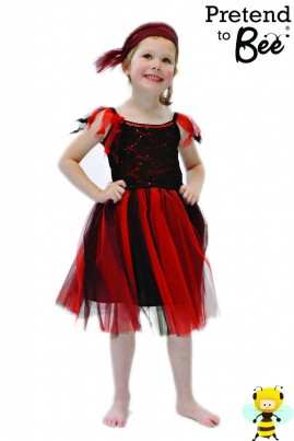 A Party Dress with the SASSY Factor  Dress with matching bandanna. Stretch lace and sequined bodice, trimmed with rosette and net tails. Sequin trim at the neck.  Black taffeta skirt with red and black net overskirt. Bandana with adjustable Velcro fastening.  Comes with Padded Hanger and Presentation Box  The Perfect Gift.
