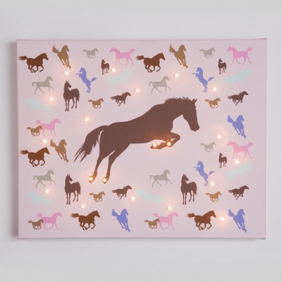 horses pink Illuminated Canvas Night Light