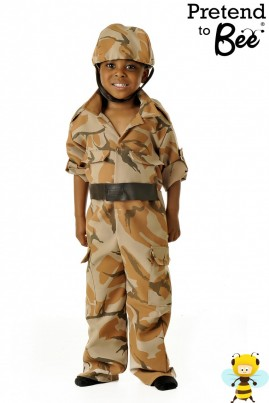 Send your little Hero into Action with this Camouflage printed bi-stretch all in one overall with Velcro fastening. Includes soft padded helmet.  Hug a Hero today!