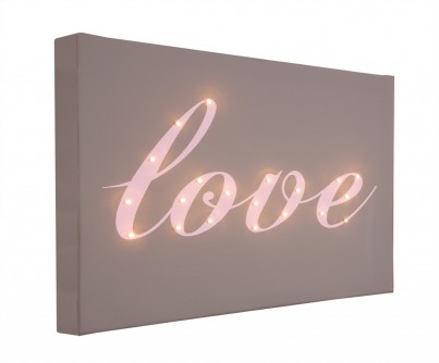 Love Italic - Illuminated Canvas Night Light