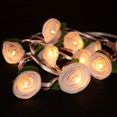 Pale Pink Felt Rose Fairy Lights