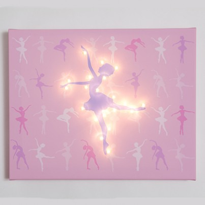 Ballet Dancer on Pink background Illuminated Canvas Night Light