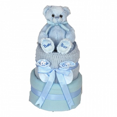 Luxury 2 Tier Baby Boy Teddy Nappy Cake