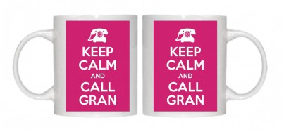 Keep Calm and Call Gran Mug Personalised With Your Own Text If Preferred