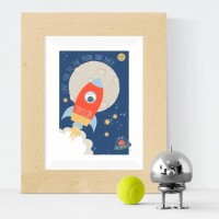 Spaceship personalised poster nursery print wall art