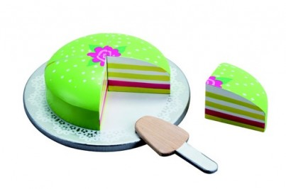 Green Wooden Princess Cake with Pretty Cake Plate and Cake Slice