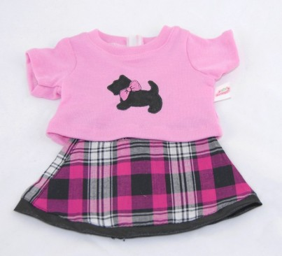 Tartan Skirt with Pink Scotty Dog Top