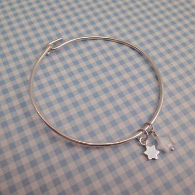 Childrens Tiny Star Bangle in White