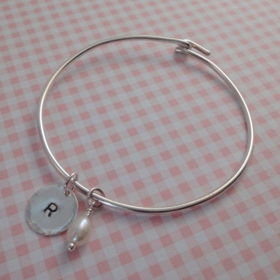Personalised Childrens Initial & Pearl Bangle