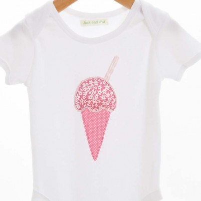 A yummy ice cream bodysuit. The ice cream design uses two different pink materials with three lines for the ribbon. Delicious!